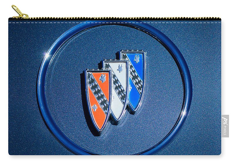1960 Buick Lesabre Series 4400 Convertible Emblem Carry-all Pouch featuring the photograph 1960 Buick Lesabre Series 4400 Convertible Emblem by Jill Reger