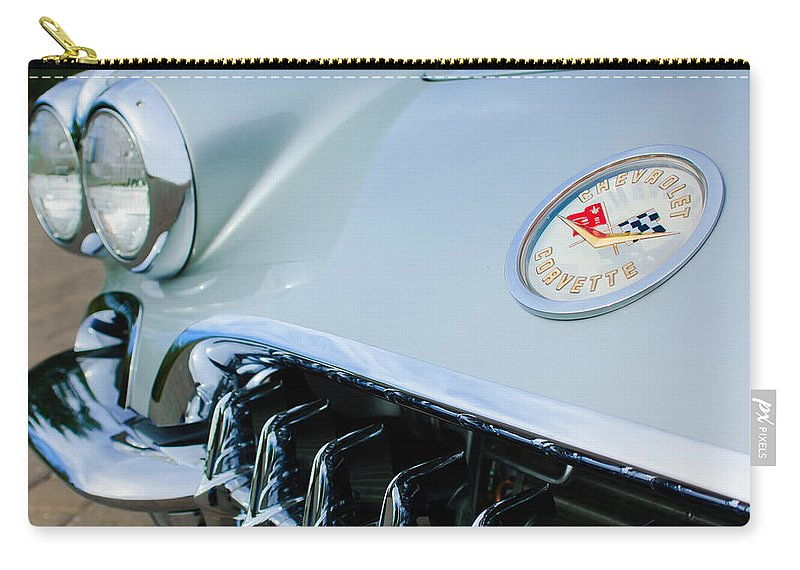 1960 Chevrolet Corvette Hood Emblem Carry-all Pouch featuring the photograph 1960 Chevrolet Corvette Hood Emblem by Jill Reger