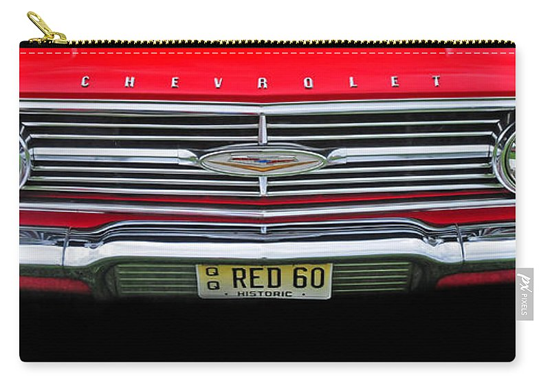 1960 Chevrolet Carry-all Pouch featuring the photograph 1960 Red Chevy by Dave Mills