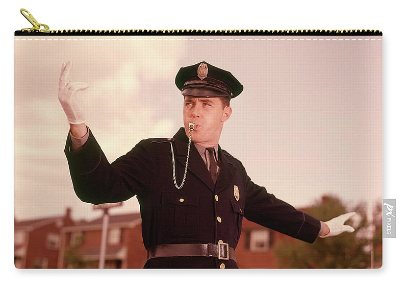 Photography Carry-all Pouch featuring the photograph 1960s Cop Policeman Blowing Whistle by Vintage Images