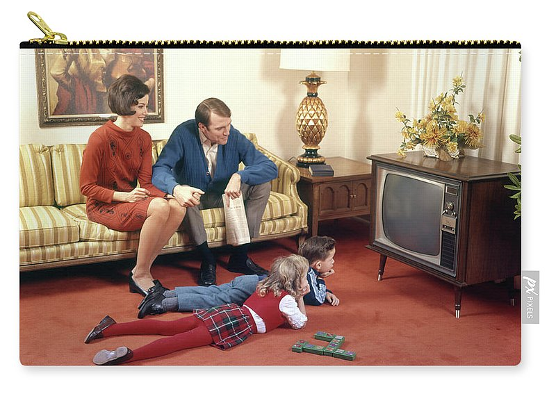 1960s Family In Living Room Watching Tv Carry-all Pouch
