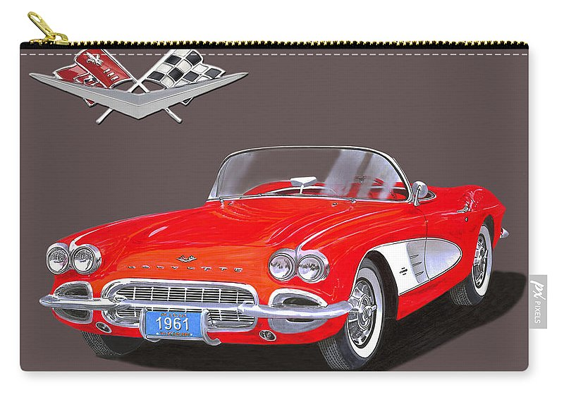 Vintage Car Art By Jack Pumphrey Of The 1961 Corvette Convertible Carry-all Pouch featuring the painting 1961 Corvette Convertible by Jack Pumphrey