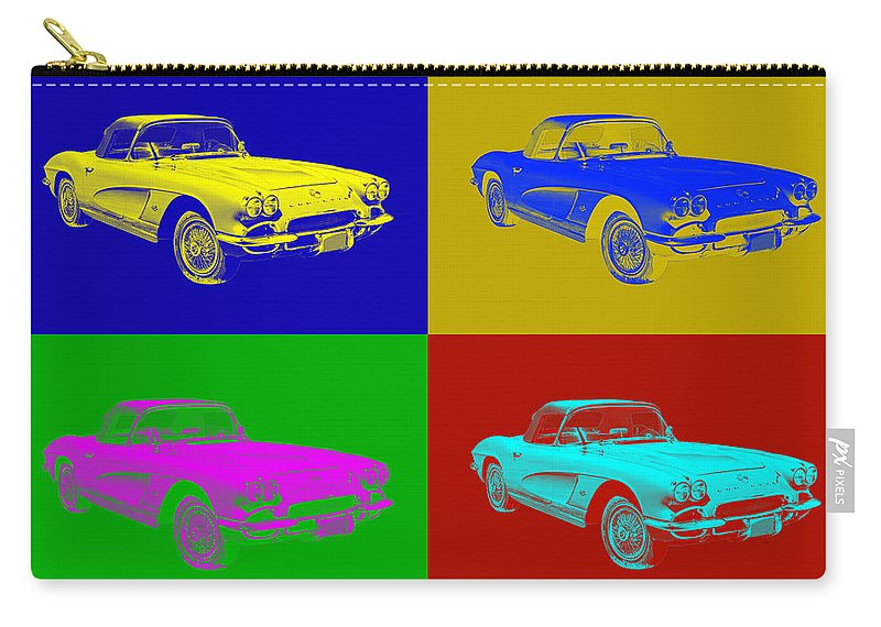 Antique Carry-all Pouch featuring the photograph 1962 Chevrolet Corvette Convertible Pop Art by Keith Webber Jr