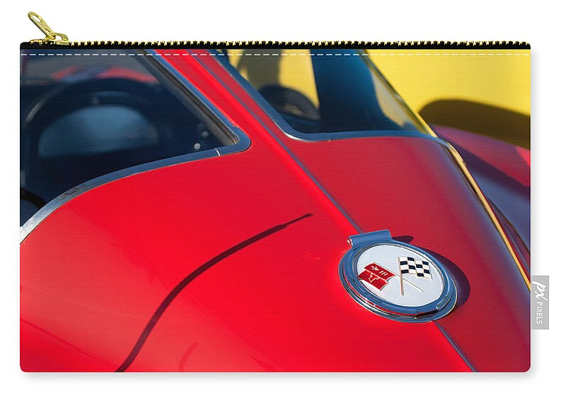 1963 Chevrolet Corvette Convertible Emblem Carry-all Pouch featuring the photograph 1963 Chevrolet Corvette Convertible Emblem by Jill Reger