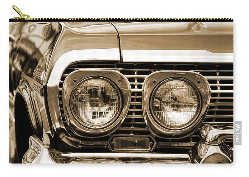 1963 Carry-all Pouch featuring the photograph 1963 Chevrolet Impala Ss In Sepia by Gordon Dean II