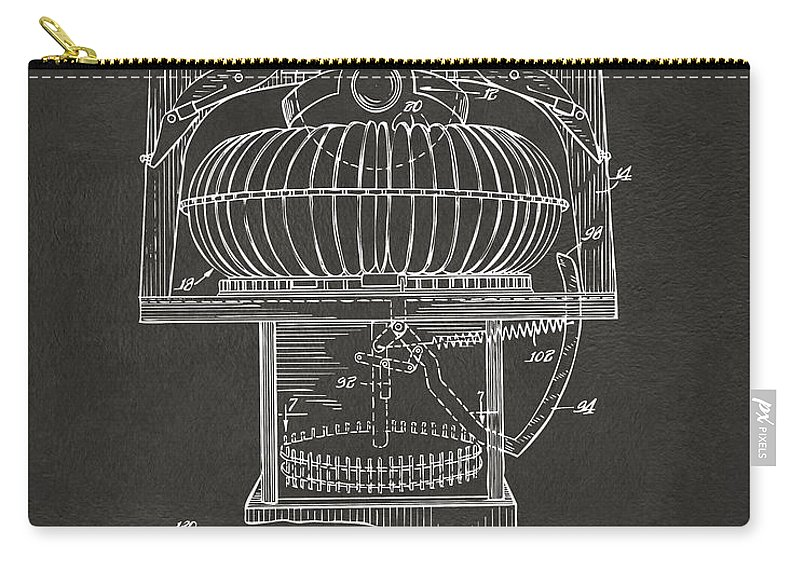 Jukebox Carry-all Pouch featuring the digital art 1963 Jukebox Patent Artwork - Gray by Nikki Marie Smith