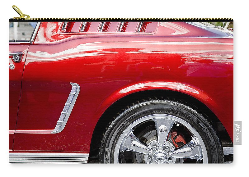 1965 Ford Mustang Carry-all Pouch featuring the photograph 1965 Ford Mustang Really Red by Rich Franco