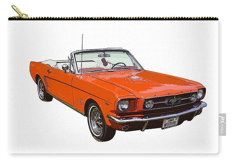 7f31dc3f Mustang Carry-all Pouch featuring the photograph 1965 Red Convertible Ford  Mustang - Classic Car