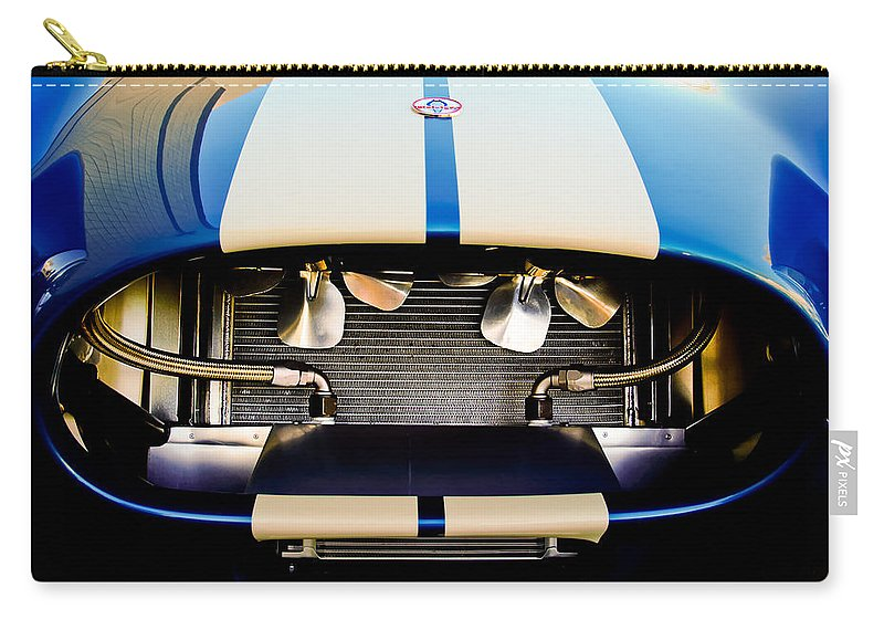 1965 Shelby Carry-all Pouch featuring the photograph 1965 Shelby Cobra Grille by Jill Reger