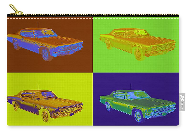 Chevrolet Carry-all Pouch featuring the photograph 1966 Chevrolet Caprice 427 Muscle Car Pop Art by Keith Webber Jr