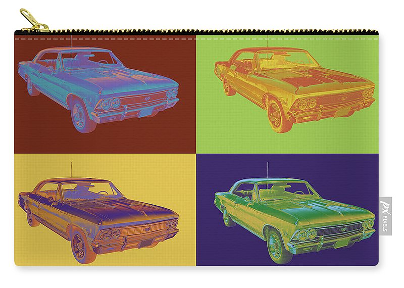 Automobile Carry-all Pouch featuring the photograph 1966 Chevy Chevelle Ss 396 Car Pop Art by Keith Webber Jr