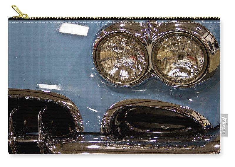 Retro Carry-all Pouch featuring the photograph 1967 Blue Corvette-front Left by Eti Reid
