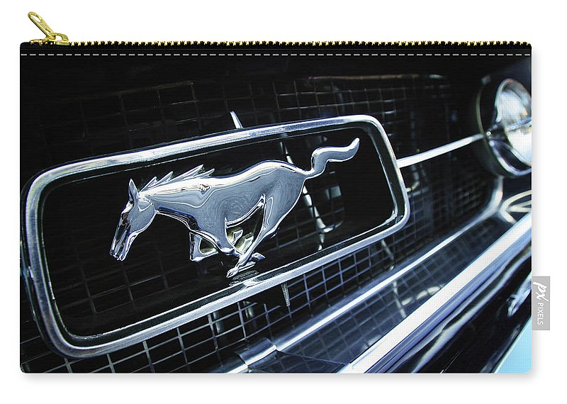 1967 Ford Mustang Gt Grille Emblem Carry-all Pouch featuring the photograph 1967 Ford Mustang Gt Grille Emblem by Jill Reger