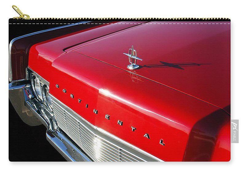 1967 Lincoln Continental Hood Ornament Carry-all Pouch featuring the photograph 1967 Lincoln Continental Hood Ornament - Emblem -646c by Jill Reger
