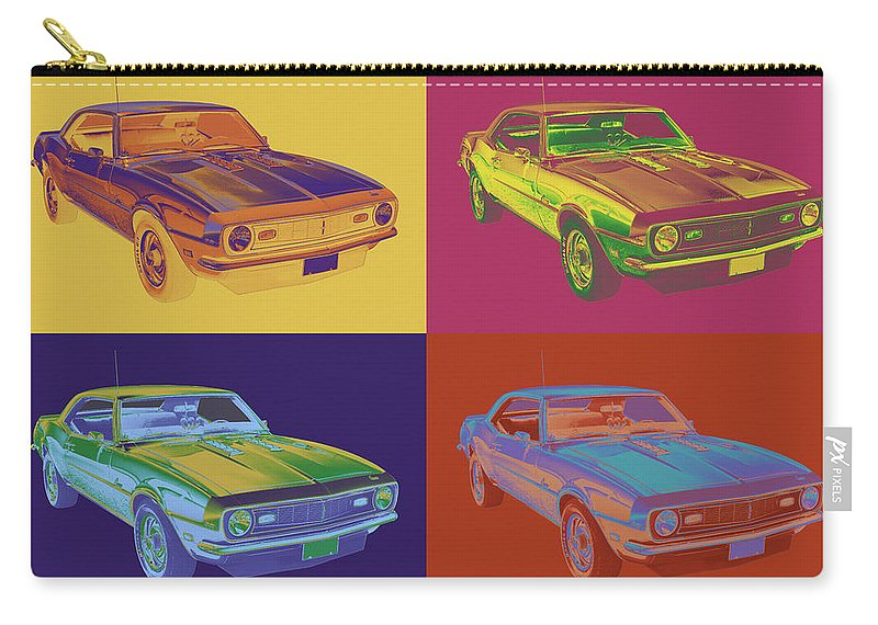 Automobile Carry-all Pouch featuring the photograph 1968 Chevrolet Camaro 327 Muscle Car Pop Art by Keith Webber Jr