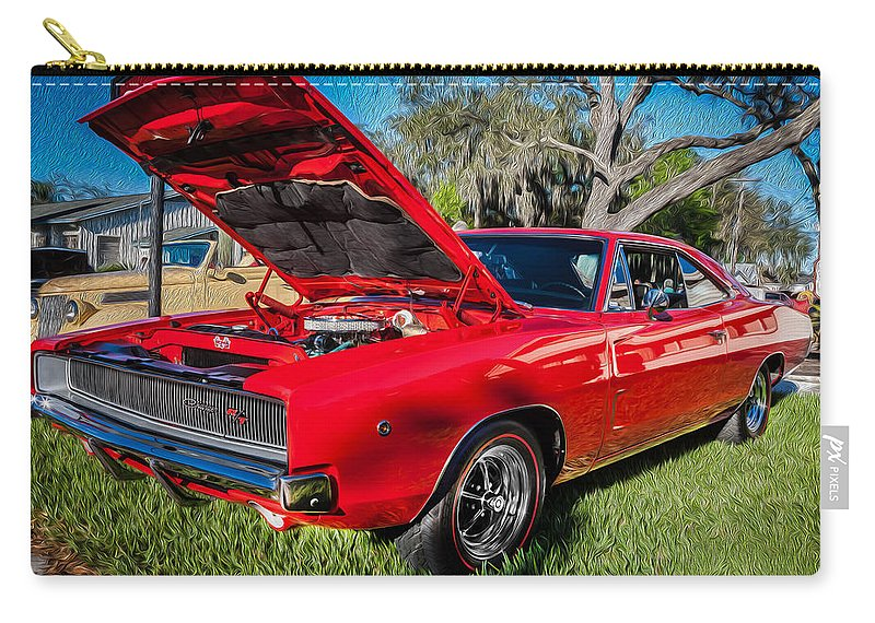 1968 Dodge Carry-all Pouch featuring the photograph 1968 Dodge Charger The Bullit Car Painted by Rich Franco