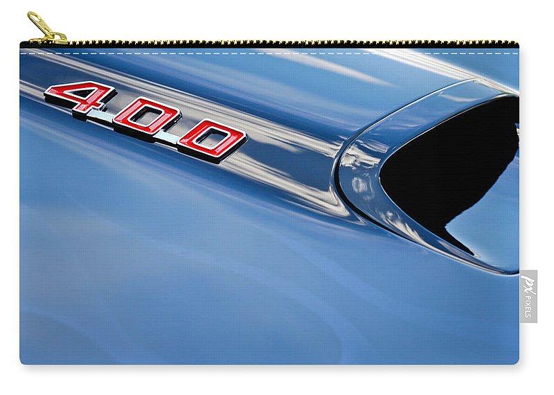 1969 Pontiac Firebird 400 Hood Emblem Carry-all Pouch featuring the photograph 1969 Pontiac Firebird 400 Hood by Jill Reger