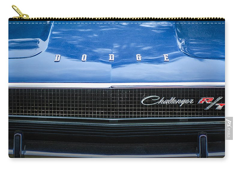 1970 Dodge Challenger Rt Convertible Grille Emblem Carry-all Pouch featuring the photograph 1970 Dodge Challenger Rt Convertible Grille Emblem -0545c by Jill Reger