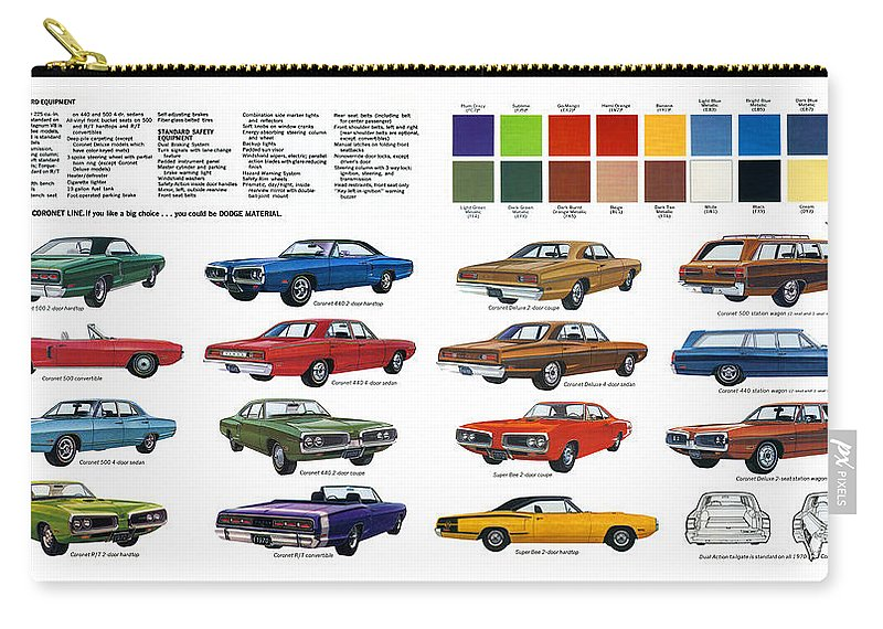 500 Carry-all Pouch featuring the digital art 1970 Dodge Coronet Models And Colors by Digital Repro Depot