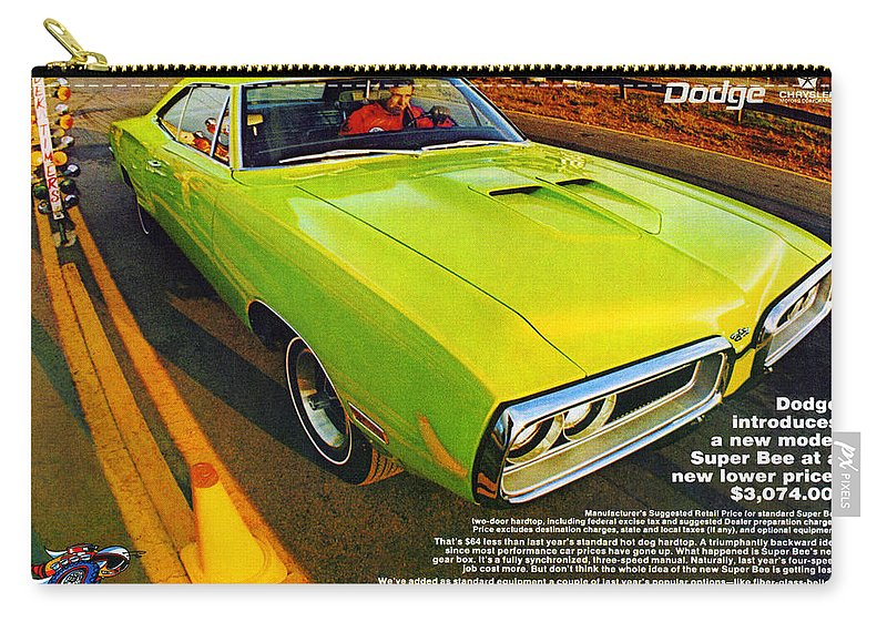 1970 Carry-all Pouch featuring the digital art 1970 Dodge Coronet Super Bee by Digital Repro Depot