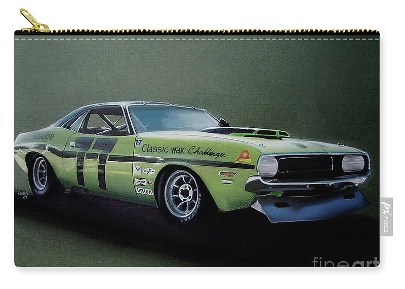 Race Car Carry-all Pouch featuring the drawing 1970's Challenger Race Car by Paul Kuras