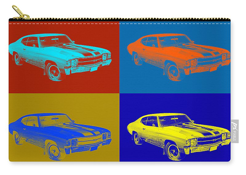 Car Carry-all Pouch featuring the photograph 1971 Chevrolet Chevelle Ss Pop Art by Keith Webber Jr