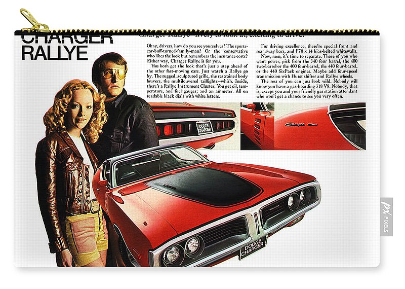 1971 Carry-all Pouch featuring the digital art 1971 Dodge Charger Rallye by Digital Repro Depot