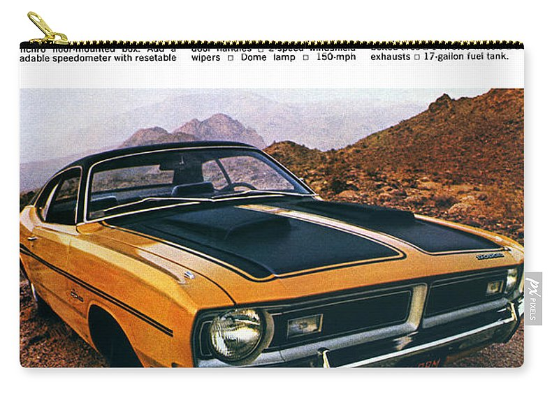 1971 Carry-all Pouch featuring the digital art 1971 Dodge Demon 340 by Digital Repro Depot