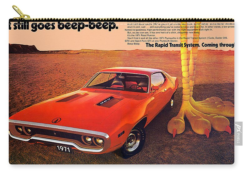 1971 Carry-all Pouch featuring the digital art 1971 Plymouth Road Runner by Digital Repro Depot