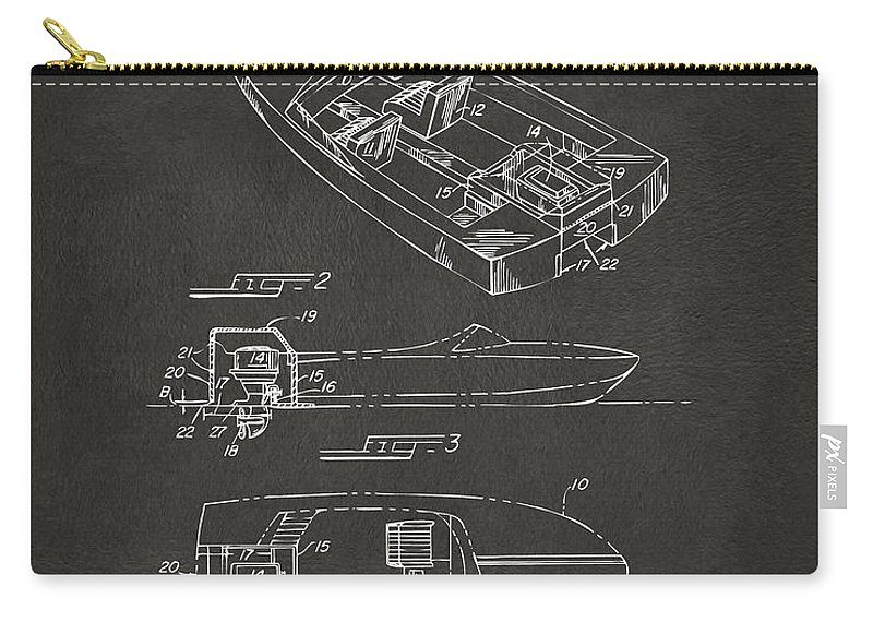 Chris Craft Carry-all Pouch featuring the digital art 1972 Chris Craft Boat Patent Artwork - Gray by Nikki Marie Smith