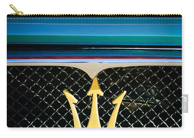 1972 Maserati Ghibli Grille Hood Emblems Carry-all Pouch featuring the photograph 1972 Maserati Ghibli Grille - Hood Emblems by Jill Reger