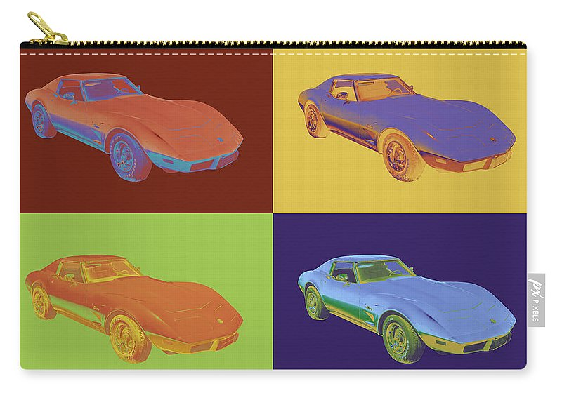 Car Carry-all Pouch featuring the photograph 1975 Corvette Stingray Sportscar Pop Art by Keith Webber Jr
