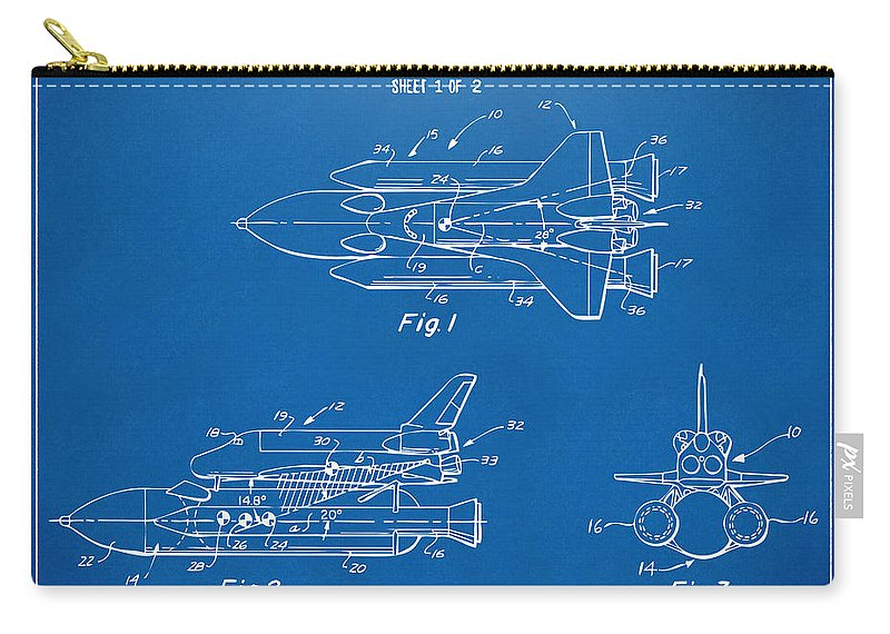 Space Ship Carry-all Pouch featuring the digital art 1975 Space Shuttle Patent - Blueprint by Nikki Marie Smith