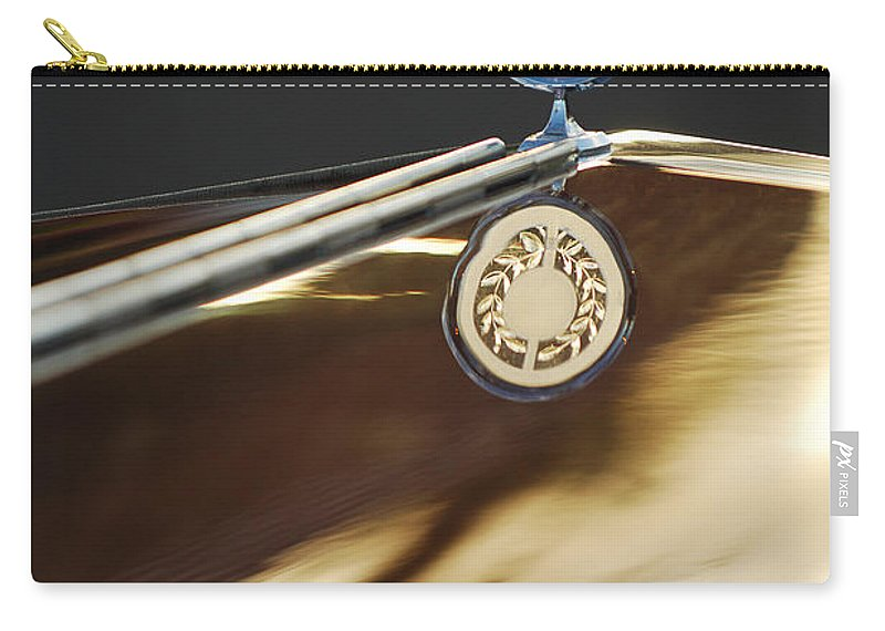 1979 Clenet Hood Ornament Carry-all Pouch featuring the photograph 1979 Clenet Hood Ornament -183c by Jill Reger