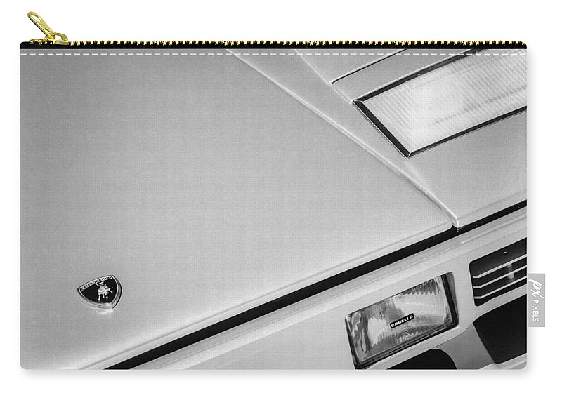 1982 Lamborghini Countach 5000s Hood Emblem Carry-all Pouch featuring the photograph 1982 Lamborghini Countach 5000s Hood Emblem -1518bw by Jill Reger