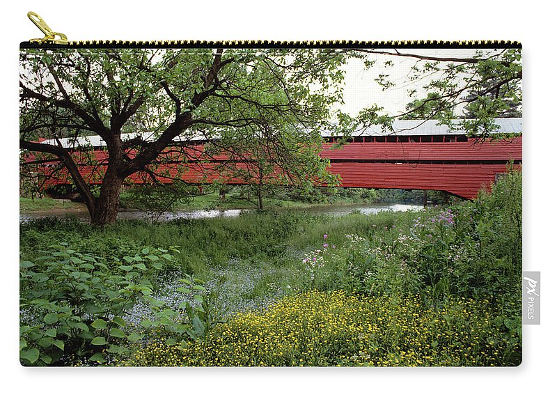 Photography Carry-all Pouch featuring the photograph 1990s Dreibelbis Station Covered Bridge by Vintage Images