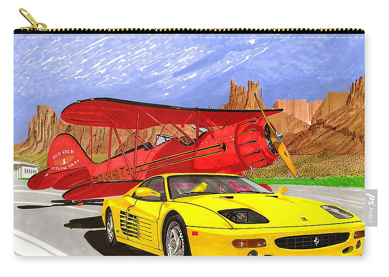 1995 Ferrari F512m And 1935 Waco Framed Canvas Prints Of 1995 Ferrari 512m And 1935 Waco Bi-plane. Prints Of Bi-wing Airplanes. Framed Prints Of Fabulouse Ferraris. Vintage Aircraft Prints.southwest Transportation Art. Carry-all Pouch featuring the painting 1995 Ferrari F512m And 1935 Waco by Jack Pumphrey