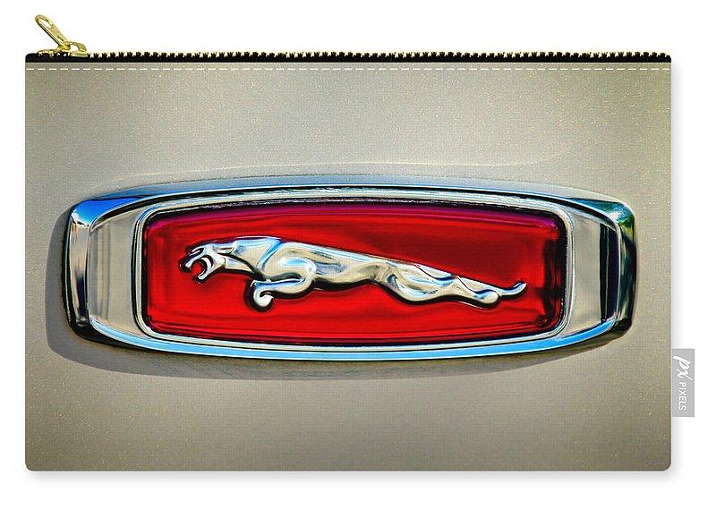 1995 Jaguar Emblem Carry-all Pouch featuring the photograph 1995 Jaguar Emblem by Jill Reger