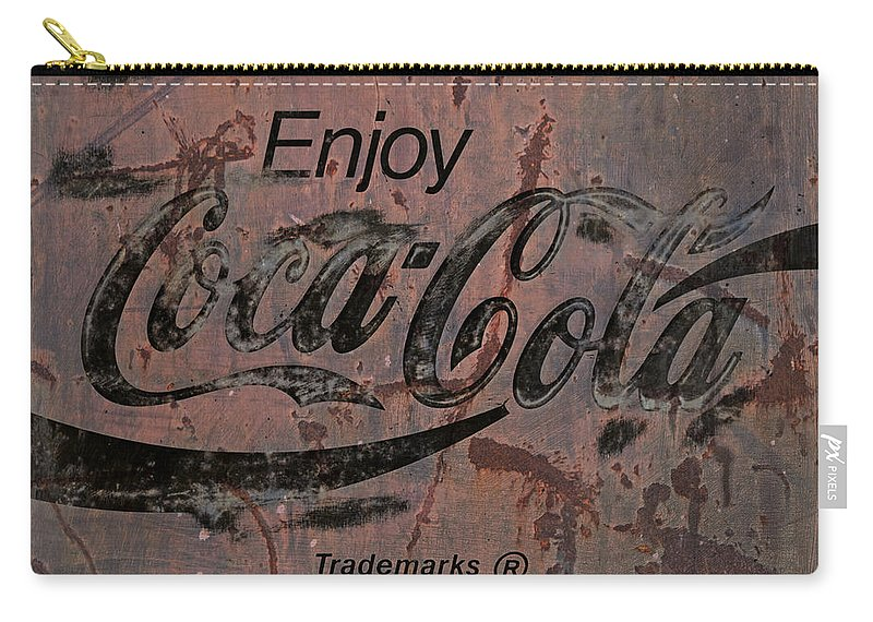 Coca Cola Carry-all Pouch featuring the photograph Coca Cola Sign Grungy Retro Style by John Stephens