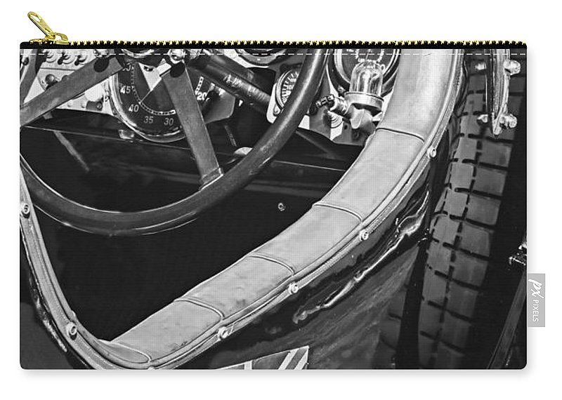 1931 Bentley 4.5 Liter Supercharged Le Mans Steering Wheel Carry-all Pouch featuring the photograph 1931 Bentley 4.5 Liter Supercharged Le Mans Steering Wheel -1255bw by Jill Reger