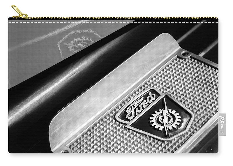1949 Ford F-1 Pickup Truck Step Plate Emblem Carry-all Pouch featuring the photograph 1949 Ford F-1 Pickup Truck Step Plate Emblem -0043bw by Jill Reger