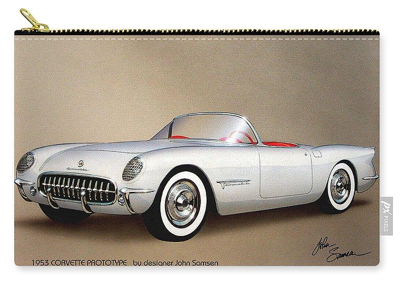 Automotive Art Carry-all Pouch featuring the painting 1953 Corvette Classic Vintage Sports Car Automotive Art by John Samsen