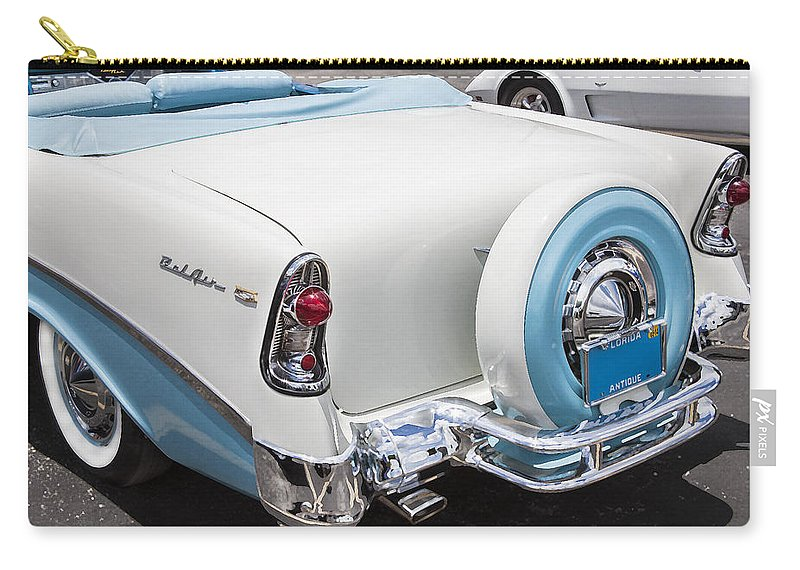 Engine Carry-all Pouch featuring the photograph 1956 Chevrolet Bel Air Convertible by Rich Franco
