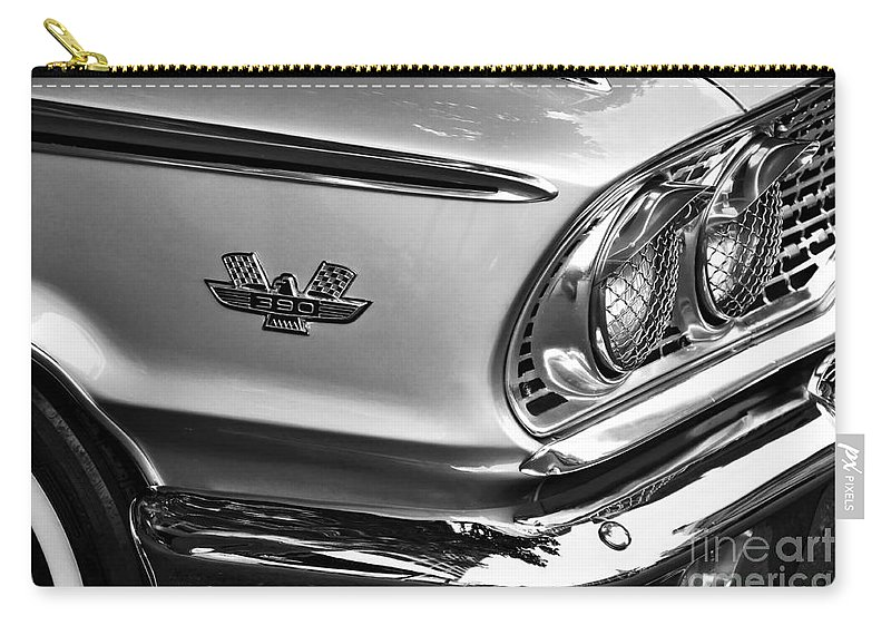 Photography Carry-all Pouch featuring the photograph 1963 Ford Galaxie Front End And Badge by Kaye Menner