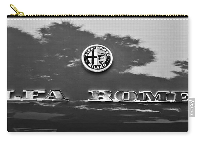 1969 Alfa Romeo Spider Veloce Iniezione Emblem Carry-all Pouch featuring the photograph 1969 Alfa Romeo Spider Veloce Iniezione Emblem by Jill Reger