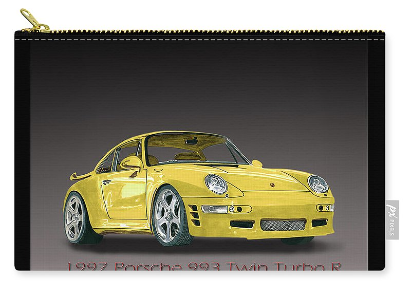 The 1997 Porsche 993 Turbo Coupe Was 1st Released In 1995 Carry-all Pouch featuring the painting 1997 Porsche 993 Twin Turbo by Jack Pumphrey