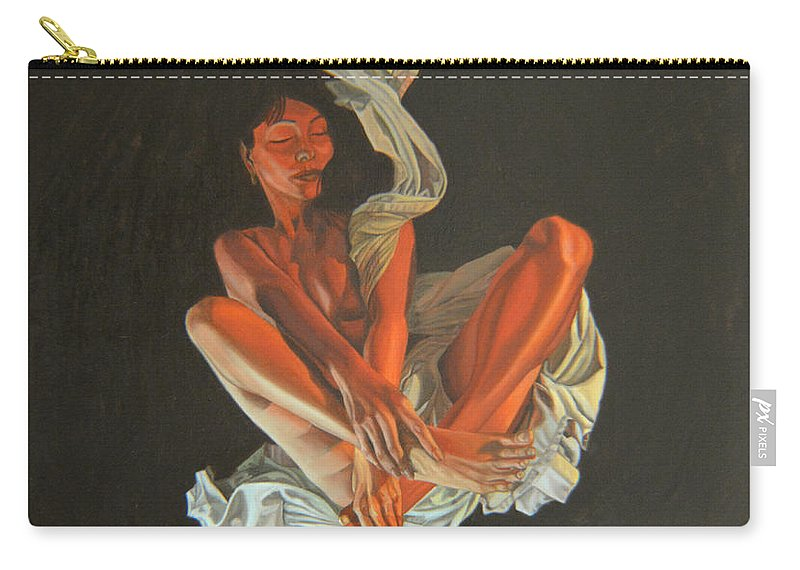 Semi-nude Carry-all Pouch featuring the painting 2 30 Am by Thu Nguyen