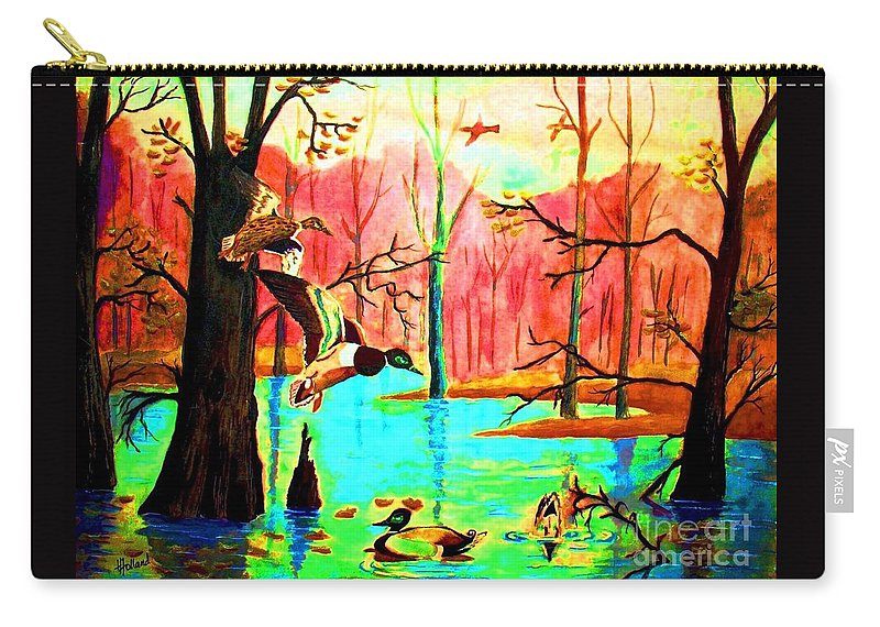 Fiery Sunset Carry-all Pouch featuring the painting A Joyous Reunion by Hazel Holland
