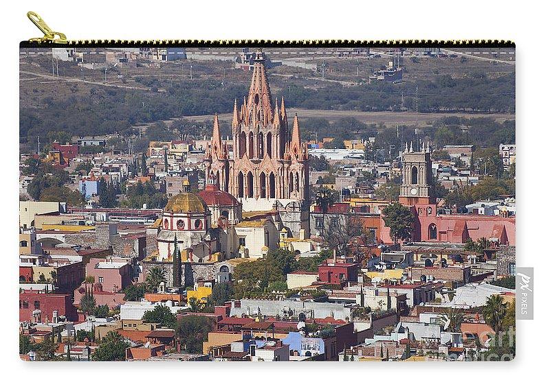 San Miguel De Allende Carry-all Pouch featuring the photograph Aerial View Of San Miguel De Allende by Ellen Thane