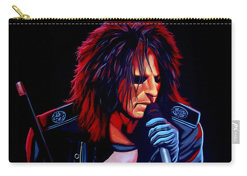 Alice Cooper Carry-all Pouch featuring the painting Alice Cooper by Paul Meijering